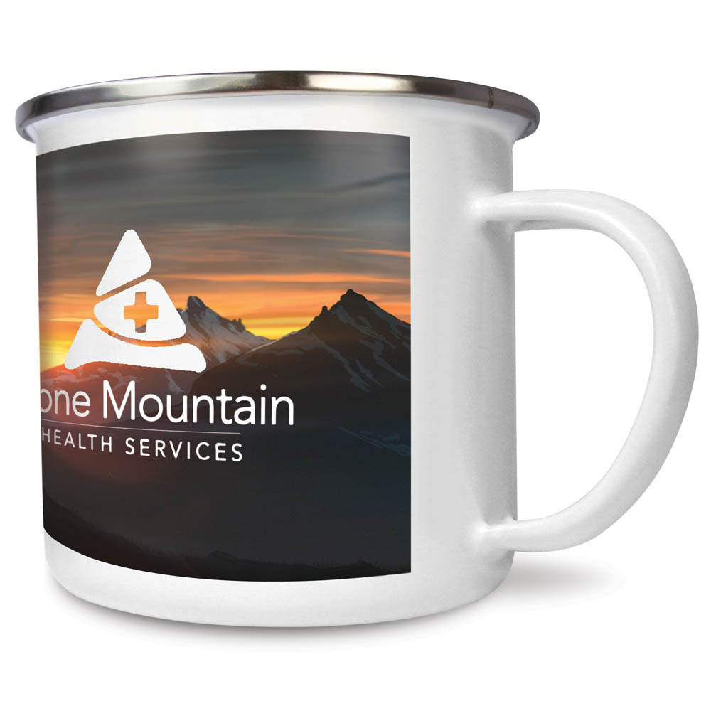 Premium Full Colour Steel Rim Enamel Mugs 10oz/285ml